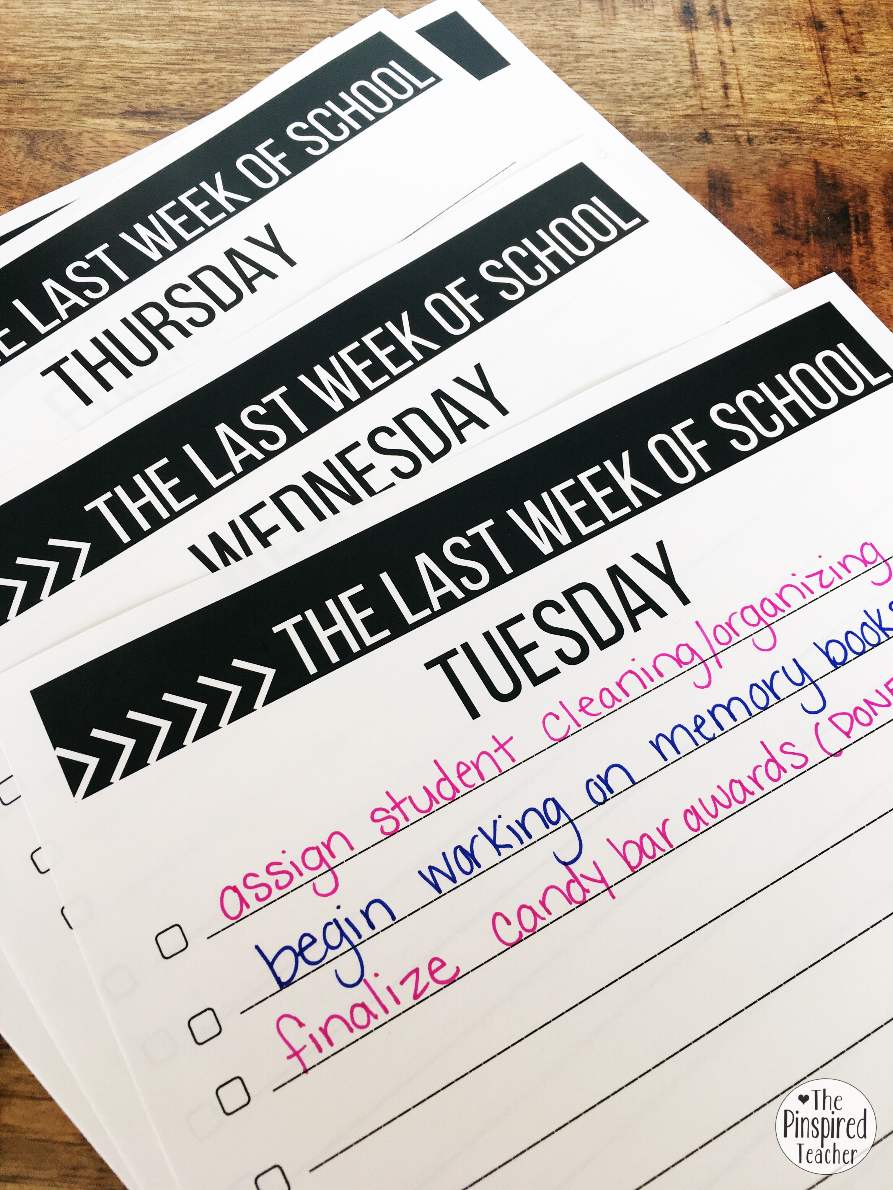 FREE planning checklists for the last week of school by the pinspired teacher